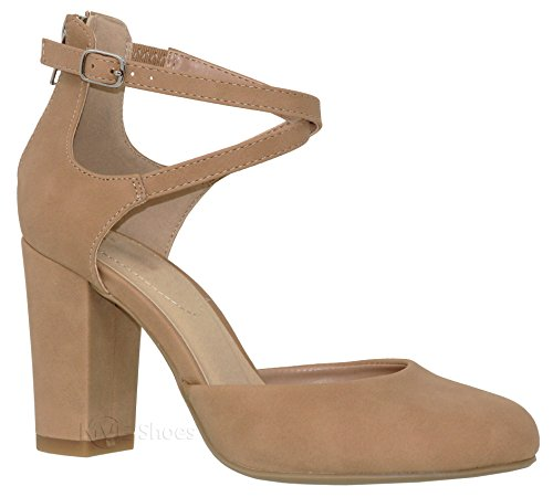 - MVE Shoes Women's Criss Cross Block Heel Pump Shoes - Ankle Strap Cut Out Comfort Heel - Classic Women Shoes, Sand nb Size 6