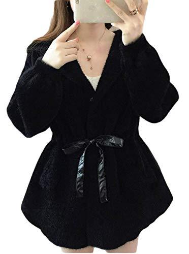 BeiBang(バイバン) レディース カーディガン 長袖 ゆったり 無地 ニットセーター 可愛い 韓国ファッション アウター コート 秋冬 防寒 あったか 白 黒