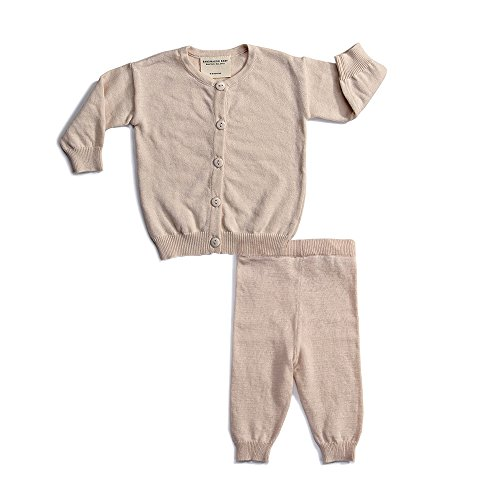 Baby Outfit 100% Cotton Knit 2 Piece Cardigan Top and Leggings Pants 12-18 Months Light Pink Neutral 2 Piece Knit Outfit