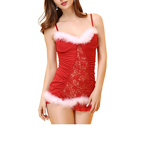 Kasiria Womens and Ladies Velvet Sexy Lingerie Red Miss Santa Claus Christmas Fancy Dress Hen Night Costume Set -
