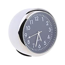 Baoblaze Car Dashboard Clock Table Classic Small Round Analog Quartz Clock,High Accuracy and Luminous - white +Black