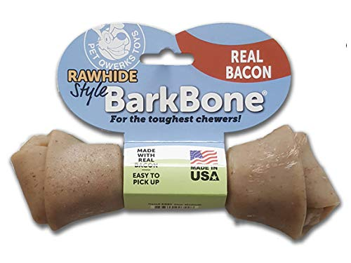 Pet Qwerks Real Bacon Infused Nylon Rawhide Style Chew Toy - Durable Toys for Aggressive Chewers, Tough Power Chewer Dog Bones | Made in USA, FDA Compliant Nylon - for Large & Medium Dogs
