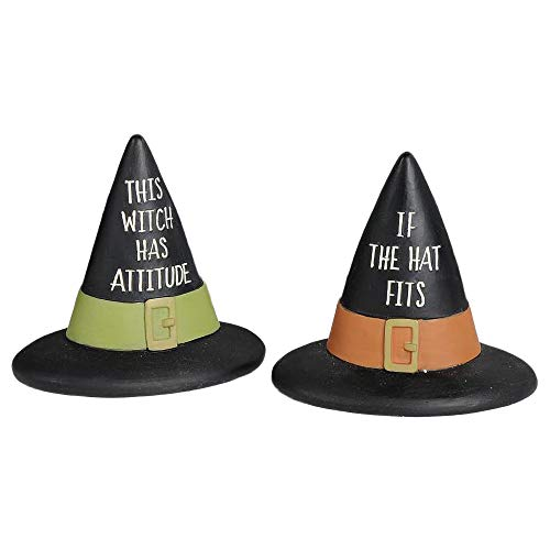Blossom Bucket Witch Has Attitude Hat That Fits Black 3 x 3.25 Inch Resin Stone Halloween Tabletop Decorative Figurines, Set of 2 ()