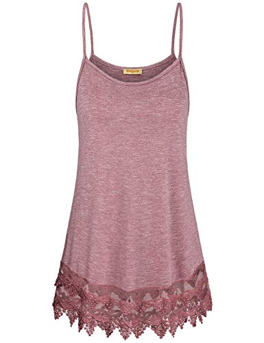 (Baikea Cami Top,Juniors Plain Basic Camisole O Neck Sleeveless Red Spaghetti Strap Halter Slip Tank Top for Women Petite Curved Hem Form Fitting Tops Daily Wear Rose Medium)