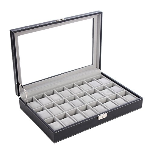 SONGMICS 24 Watch Box Large Watch Case Glass Top Black Display Organizer Faux Leather UJWB024 (Display Case 20 Slot)