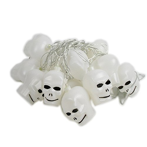 Hockey Puck Costumes Ideas - Colorful Battery Operated Halloween LED Skulls String Light Decoration Gift Favor for Bar Haunted House 16 Pcs