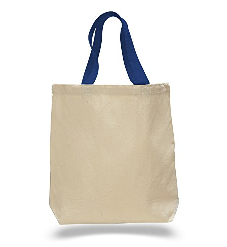 (Set of 12) 12 Pack- Wholesale Cotton Canvas Gusset and Contrasting Handles Tote Bag (Royal)]()