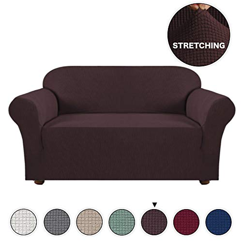 Turquoize 1 Piece Sofa Cover for Loveseat Sofa Slipcover for Living Room Furniture Cover/Protector for 2 Cushion Couch Spandex Slipcover Stylish Jacquard Couch Cover (Loveseat, Brown) ()
