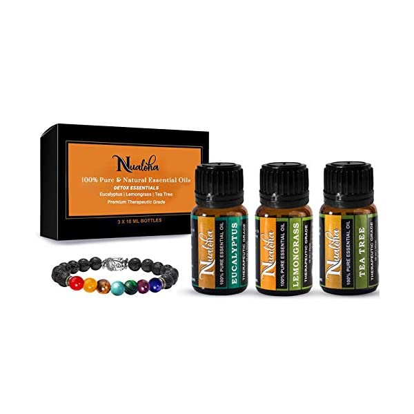Nualoha Top 3 Detox Aromatherapy Essential Oils Pack With 7 Chakra Lava Stone Bracelet-Pure Natural Australian Tea Tree,Eucalyptus, Lemongrass For Skin, Hair,Body,Yoga,Meditation,Diffusers-3x10ML Perfumes