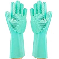 Magic Dishwashing Gloves Reusable Silicone Gloves with Scrubber Brush Suit for Kitchen,Pet Grooming,Bathroom,Washing Car Cleaning FDA Certified & Heat Resistant Hand Scrub1 Pair By STWIE (Blue)