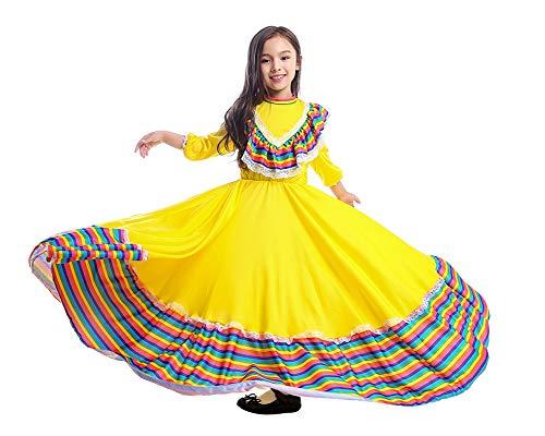Girls' Traditional Cinco de Mayo Fiesta Dress Costume (M(Suggest 42
