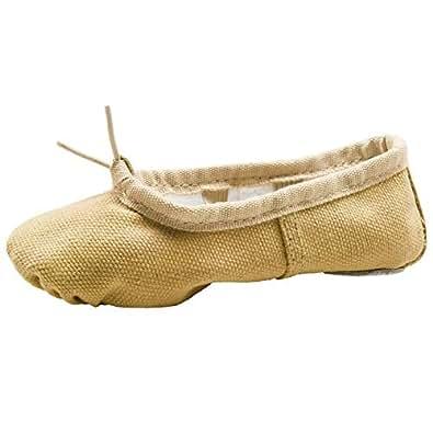 Linodes Canvas Ballet Shoes/Ballet Shippers/Yoga Dance Shoes (Toddler/Little/Big Kid/Women)-Brown-1M-Little Kid