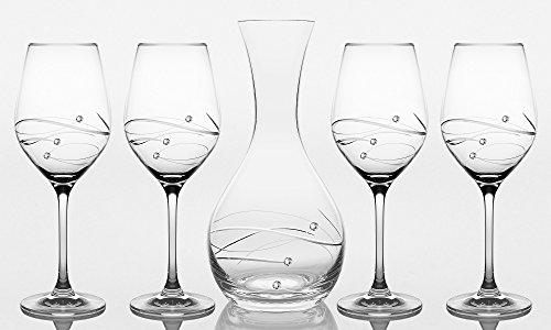 Barski - Set of 5 - Handmade Glass - Sparkle - 41 oz. Carafe with 4 Red Wine 16 oz. Glasses - Decorated with Real Swarovski Diamonds - Gift Boxed - Made in Europe
