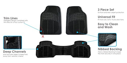 FH GROUP F11306-3ROW Quality All Weather Rubber Auto Floor Mats Liner - Gray by FH Group (Image #6)
