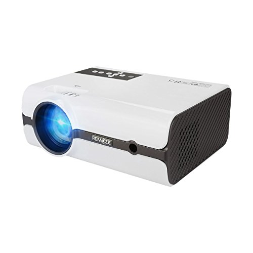 Remoze LED Projector 1200 Lumens Multimedia Home Theater Video Projector Supporting 1080P HDMI USB SD Card VGA AV for Home Cinema TV Laptops Games Smartphones iPad