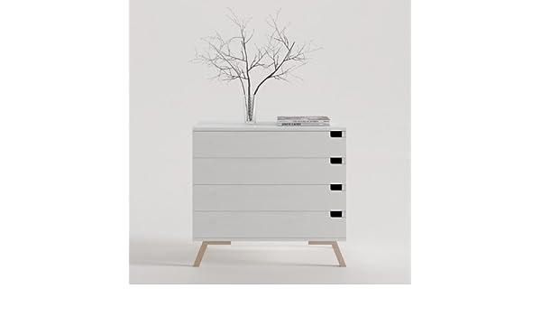 CajonesUnicos - Cajonera blanca 4 cajones con pata vintage 80 x 80.9 x 45: Amazon.es: Hogar