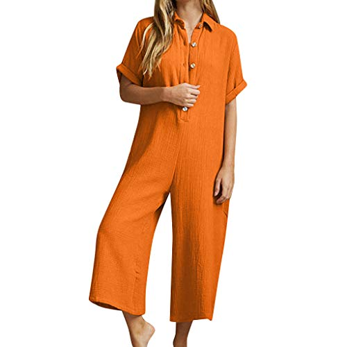 Aniywn Women's Oversize Short Sleeve Casual Solid Harem Pants Loose Button Wide Leg Trousers Jumpsuit Orange (Boys Cinched Pants)
