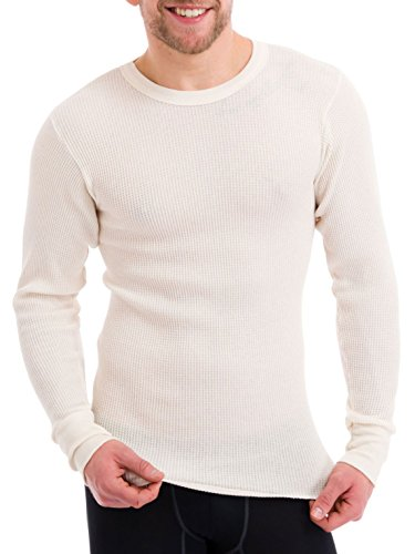 Essential Apparel Men's Old School Waffle Knit Thermal Tops , Natural, Large