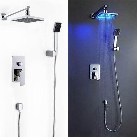 "Safstar Bathroom Contemporary Rain Mixer Shower Combo Wall Mount 8"" LED Square Fixed Rainfall Shower Head System"