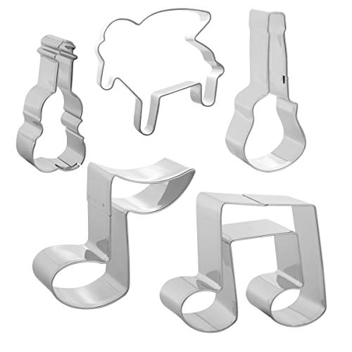 Stephenie Music Note Cookie Cutter Set - 5pcs & Dishcloth - Guitar + Violin + Piano + Quaver + Two Octaves, Stainless Steel