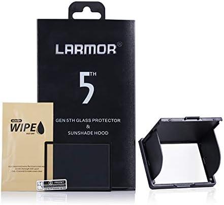 LARMOR GGS 5th Gen 0.3mm Camera Glass Screen Protector Sunshade Hood Compatible Canon 1D X