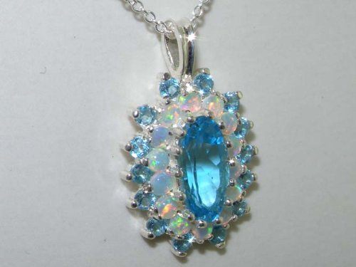 Ladies Solid 925 Sterling Silver 12x6mm Natural Blue Topaz Opal 3 Tier Large Cluster Pendant Necklace