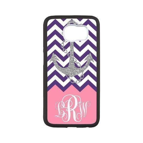 Purple White Chevron Vs Gray Anchor Monogram Pink Samsung Galaxy S6 White or Black PC Case