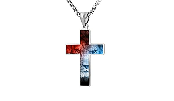 Quensk Skull with Fire Cross Necklace Christ Necklace Pendant Cross Prayer Fashion Accessories for Men Women