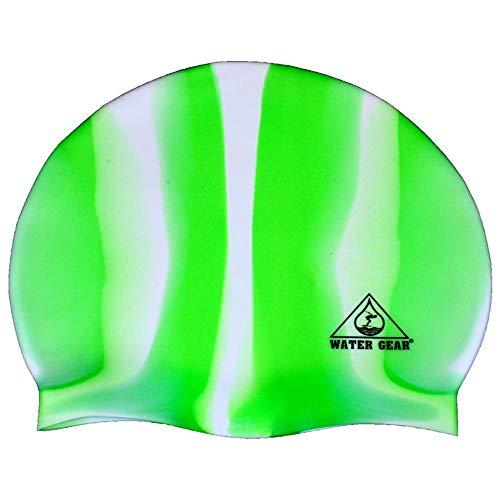 (Water Gear Jazz Silicone Swim Cap - GREEN/WHITE)