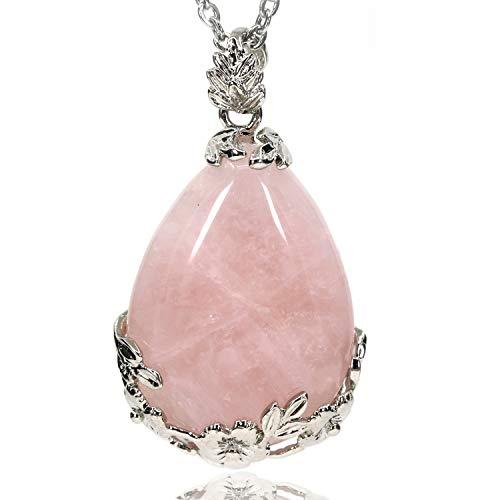 Genuine Natural Pink Quartz Gemstone Droplets Reiki Chakra Pendant Stainless Steel Chains Necklace 18
