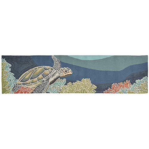 Liora Manne RVLR8225704 Ravella Coastal Akumal Sea Turtle Indoor/Outdoor Runner Rug, 2' X 8', OCEAN ()