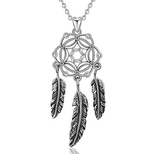 - AEONSLOVE 925 Sterling Silver Dream Catcher Necklace Feather Pendant for Women Gift, 18'' Chain