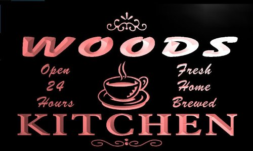 pc1107-r Woods Coffee Kitchen Bar Neon Beer Sign by AdvPro Name (Image #3)