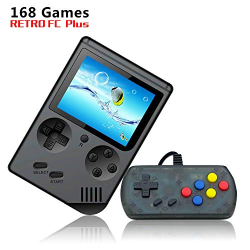 INMNS Handheld Game Console ,850mA FC System Plus Extra Joystick Portable Mini Controller 3 Inch Support TV 2 Player 168 Classic Game Console, Presend for Kid Adult, (Black) (Black)