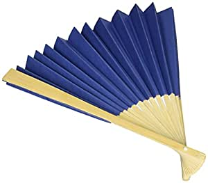 Luna Bazaar Handheld Folding Paper Fan (9-Inch, Navy Blue) - In the Style of Chinese, Japanese, Spanish Fans - For Personal Use, Weddings, and Events