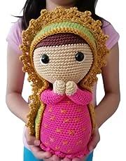 Virgen de Guadalupe amigurumi, realizada en crochet completamente a mano.