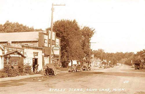 (Long Lake Minnesota Street Scene Ford Beer Sign Real Photo Postcard J926719)