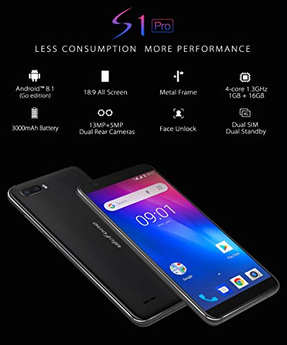 Gallity Ulefone S1 4G Smartphone Pro Mobile Phone 5.5 inch 18:9 MTK6739 Quad Core 1GB RAM 16GB ROM 13MP+5MP Face Unlock Android 8.1 (Black) by Gallity (Image #3)