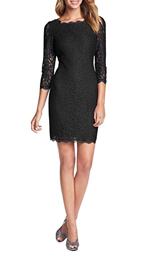 Berydress 3/4 Sleeve Full Zip Back Short Lace Cocktail Dress (14, Black)