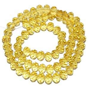 Steven_store CR224 Citrine Yellow 6mm Rondelle Faceted Cut Crystal Glass Beads 16