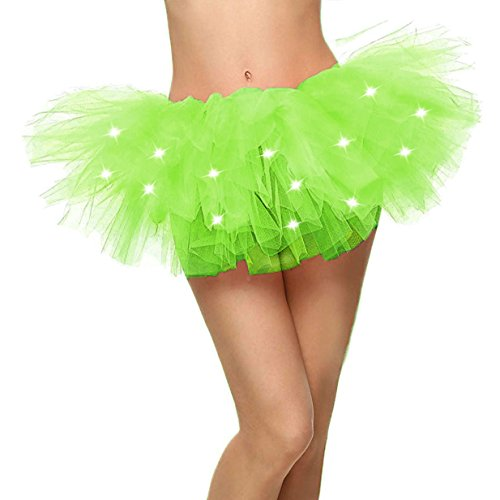 Women's LED Light Up Neon Tulle Tutu Skirt for Party Cosplay, Fluorescent Green ()