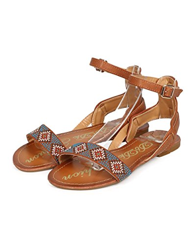 Leatherette Gladiator DbDk Boho Toe ED54 Women Open Camel Studded Tribal Sandal RTSRyFHc