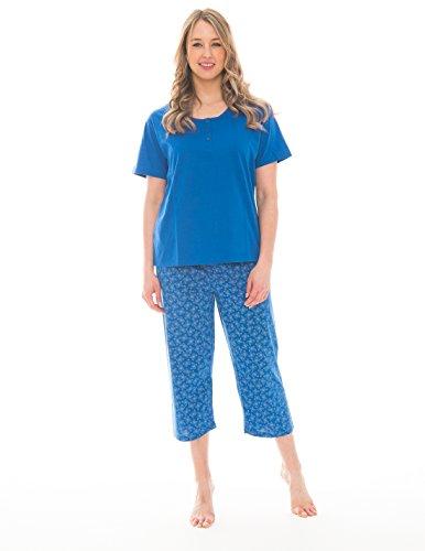 Pink Lady Women's Henley T-Shirt and Capri 2 Piece Lightweight Pajama Set (Azure Blue Butterfly Henley, ()