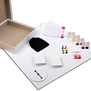 Madanar Blank Create Your Own Board Game 143 Piece Set: Blank Game Board, Spinner, Playing Cards, Dice, Notepad, Timer, Pawns, Drawstring Bag, Rule Sheet, Player Pieces, & Storage Box