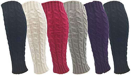 Leg Warmers for Women 6 Pairs Knee High Cable Knit Warm Thermal Acrylic Winter Sleeve
