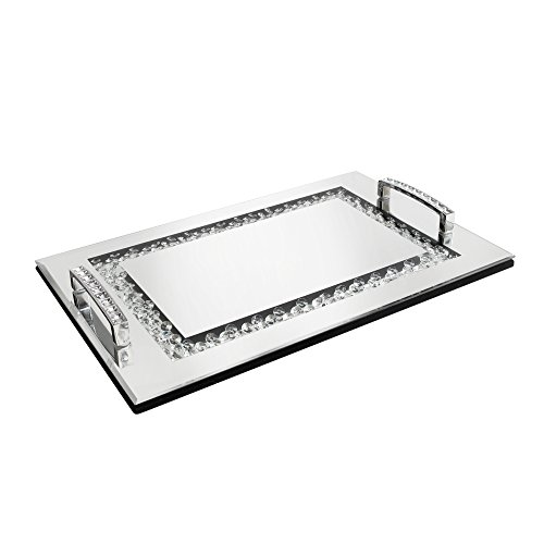 American Atelier Jeweled Decorative Tray with Handles Silver