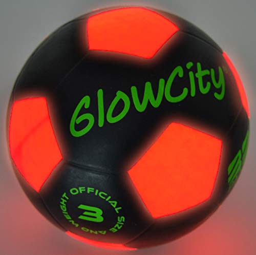 GlowCity Light-Up Soccer Ball - Size 3 Glow-in-The-Dark Mini LED Kick Ball - Fun for a Night Match with Pre-Schoolers, Toddlers, and up to Age 6 or 7 -