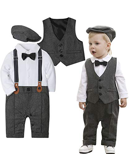 - ZOEREA Baby Boy Outfits Set, 3pcs Long Sleeves Gentleman Jumpsuit & Vest Coat & Berets Hat with Bow Tie (Label 70/Age 4-7 Months, Gray)