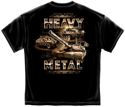Erazor Bits Military T Shirt Heavy Metal American Flag Marine Corps US Army Air Force US Navy Patriotic 100% Cotton T Shirt Black ADD47-MM2347M Medium