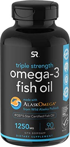 Omega-3 Wild Alaska Fish Oil (1250mg according to Capsule) with Triglyceride EPA & DHA | Heart, Brain & Joint Support | IFOS 5 Star Certified, Non-GMO & Gluten Free (90 Softgels)